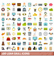 100 loan skill icons set flat style vector image vector image