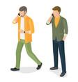 adult men speaking on telephone communication vector image vector image