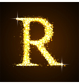 Alphabets R of gold glittering stars vector image