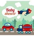Baby shower toy transport card vector image