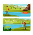 banners - fisherman on river with rod prey vector image vector image