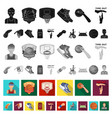 basketball and attributes flat icons in set vector image