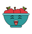 bowl with apples fruits kawaii character vector image