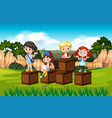 boy and girl in nature vector image vector image