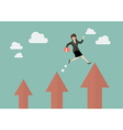 Business woman jumping up to a higher arrow vector image vector image