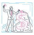 businessman making money - line design style vector image