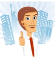 businessman standing with his thumbs up vector image vector image