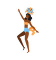 cartoon dancer woman in brazil carnival jumping vector image