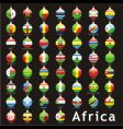 Christmas bulbs Africa flags vector image