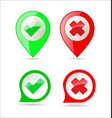 confirm and deny checkmark and x icon button 1 vector image