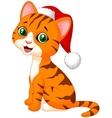 Cute cat cartoon wearing red hat vector image vector image
