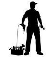 emergency repairman silhouette vector image vector image