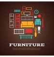 Flat Furniture Round Composition vector image