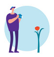 flat male tourist and flower vector image