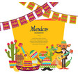 flat mexico attributes below frame with vector image vector image
