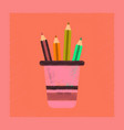 flat shading style icon pencils in stand vector image vector image