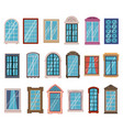 flat windows frames colorful various wooden and vector image