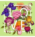Floral and birds flamingos Love Graphic Design vector image vector image