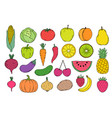 fruits an vegetables icons vector image