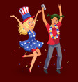 girl and boy having fun at students knees-up vector image vector image