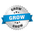 grow round isolated silver badge vector image vector image
