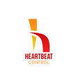 heartbeat control emblem vector image vector image