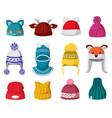 knitted winter hats kids knit warm headwear vector image