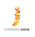 letter j logo with orange yellow red particles vector image vector image