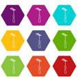 medical sharp hook icons set 9 vector image