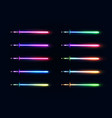 neon light gradient swords set sabers collection vector image vector image