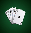 Poker cards flush leaves hand vector image vector image