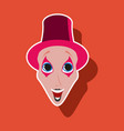 realistic paper sticker on theme humor clown mime vector image vector image