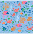 seamless pattern with crabs fish corals algae