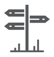 signpost glyph icon travel and tourism guidepost vector image vector image
