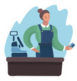 smiling cashier girl vector image vector image
