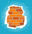 snowfall and blue paper torn wall vector image vector image