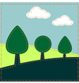 Stitched landscape with trees and clouds vector image vector image