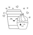 sweet cupcake and coffee pastry kawaii characters vector image