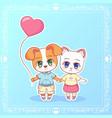 sweet little cute kawaii anime cartoon puppy cat vector image vector image