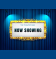 theater sign gold luis on curtain vector image vector image