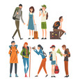 tourists travelling set people having summer vector image vector image