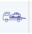tow car evacuation sign navy line icon on vector image vector image