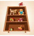 Toys on shelves print vector image vector image