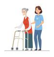 volunteer helping senior woman - flat design style vector image vector image