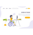work at home landing page template disabled man vector image