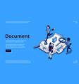 work with documents bureaucracy isometric landing vector image vector image