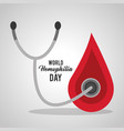 world hemophilia day blood drop stethoscope vector image