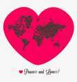 World map with hearts Valentines day vector image vector image