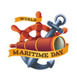world maritime day design concept with steering vector image