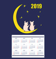 american children calendar 2019 with piglets on vector image
